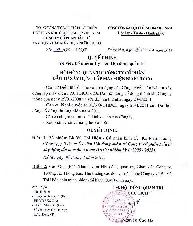 04-2011 BỔ NHIỆM ỦY VIÊN HĐQT - THÀNH VIÊN BAN KIỂM SOÁT