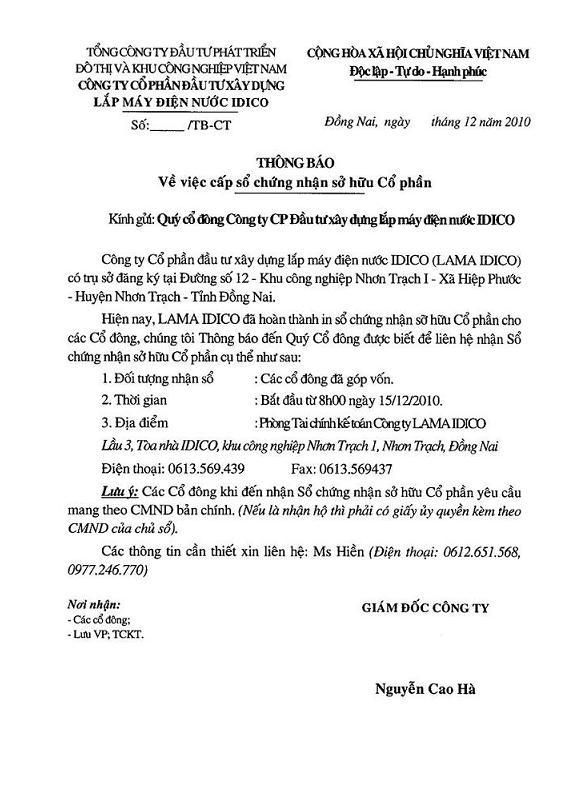 12-2010 THÔNG BÁO CẤP SỔ CHỨNG NHẬN SỞ HỮU CỔ PHẦN